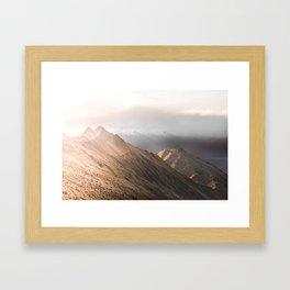 Hazey peaks Framed Art Print