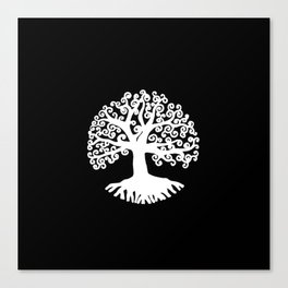 black and white abstract tree of life II Canvas Print