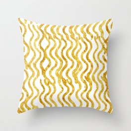 Golden Wavey Throw Pillow