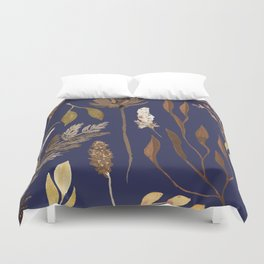 Fall Foliage on Navy Duvet Cover