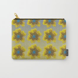 Yellow flower on blue repeat Carry-All Pouch