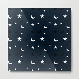 Navy blue background with black and white moon and star pattern Metal Print