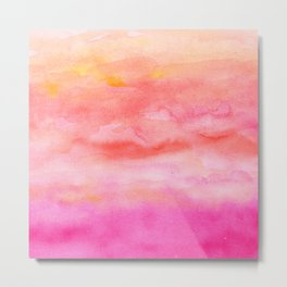 Bright pink orange sunset watercolor hand painted Metal Print