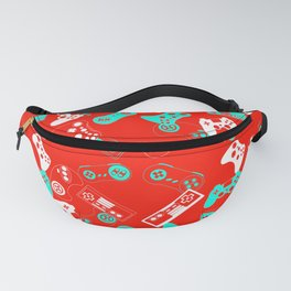 Video Games light blue on red Fanny Pack