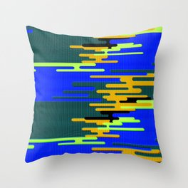 Blue Green Yellow 8Bit Clouds Throw Pillow