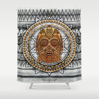 c3po Shower Curtains featuring Aztec c3po Droid iPhone 4 4s 5 5c 6, pillow case, mugs and tshirt by Greenlight8