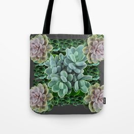 GARDEN OF GRAY-GREEN PINK SUCCULENTS Tote Bag