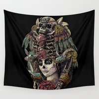 guardians Wall Tapestries featuring Day of the Dead (Ancient Guardians) by Jorge Garza