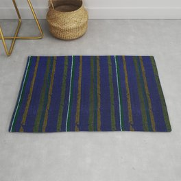 Blue And Green Stripes Traditional Japanese Shima-Shima Pattern Rug