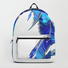 Blue and White Abstract Art - Flowing 2 - Sharon Cummings Backpack