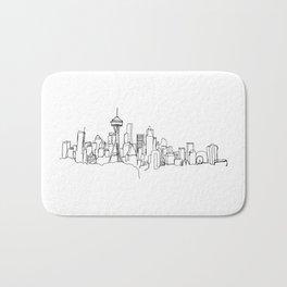 Seattle Skyline Drawing Bath Mat