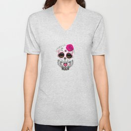 Adorable Pink Day of the Dead Sugar Skull Owl Unisex V-Neck
