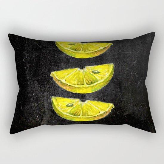 Lemon Slices Black Rectangular Pillow