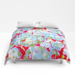 MODERN ART RED WHITE FLORAL GARDEN Comforters