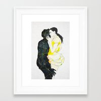 kiss Framed Art Prints featuring KISS by SEVENTRAPS