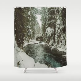 Adventure Awaits River II - Pacific Northwest Nature Photography Shower Curtain