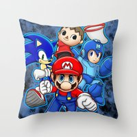 super smash bros Throw Pillows featuring Super Smash Bros  by Blaze-chan