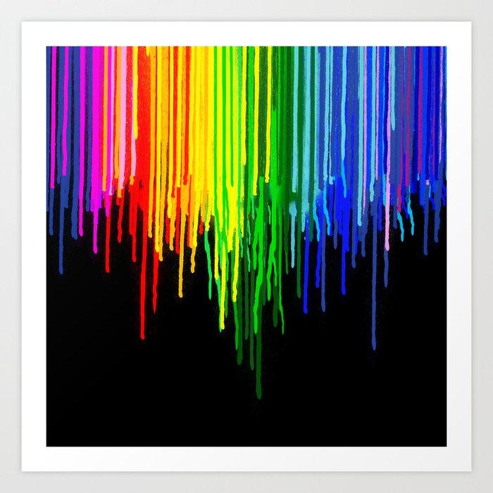 Rainbow Paint Drops on Black Art Print