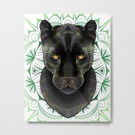 Black Jaguar Mandala Metal Print