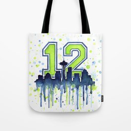 Seattle 12th Man Art Seattle Skyline Space Needle Tote Bag