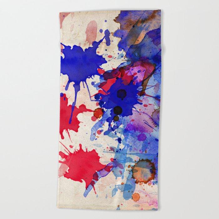 Blue & Red Color Splash Beach Towel