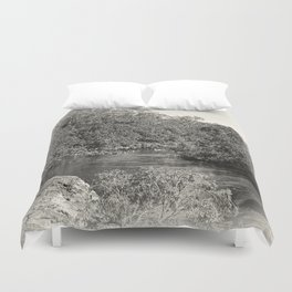 Black and white study of a tranquil river Duvet Cover