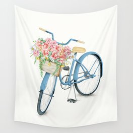 Blue Bicycle with Flowers in Basket Wall Tapestry