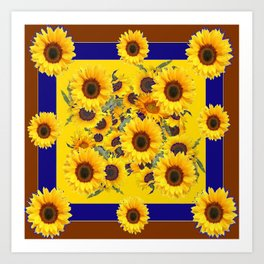 COFFEE BROWN & BLUE YELLOW SUNFLOWERS Art Print