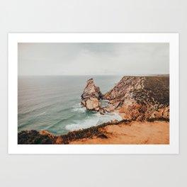 The rocky shores at Praia da Ursa, Sintra, Portugal  Art Print