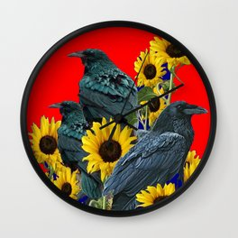 DECORATIVE RED ART SUNFLOWERS & CROW/RAVENS COVEN Wall Clock