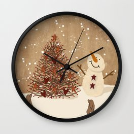 Primitive Country Christmas Tree Wall Clock