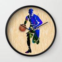 basketball Wall Clocks featuring Basketball by marvinblaine