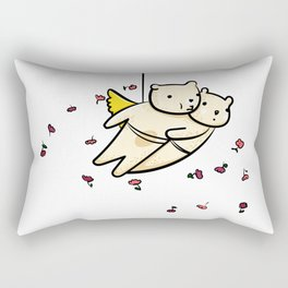 Flying bears with roses illustration Rectangular Pillow
