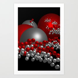3D in red, white and black -10- Art Print