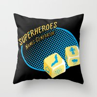 super heroes Throw Pillows featuring Super-Heroes-Name-Generator by sergio37