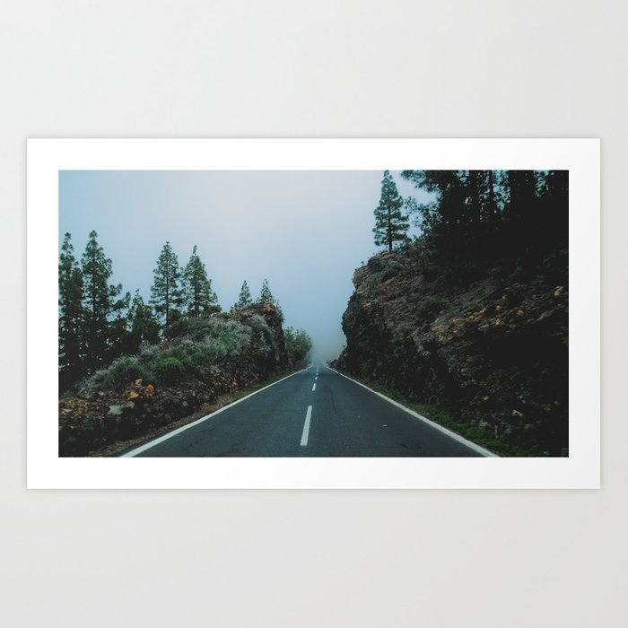 Foggy driving Art Print