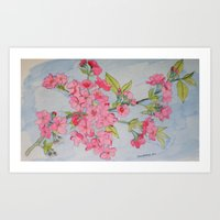 Pink Apple Blossom Branch Art Print