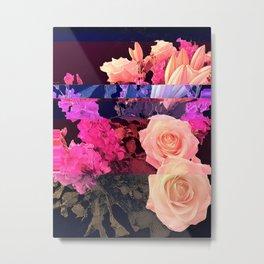 Glitched Flowers - Magenta Metal Print
