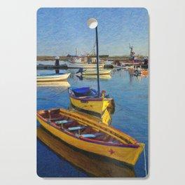 Yellow fishing boat, Santa Luzia, Portugal Cutting Board