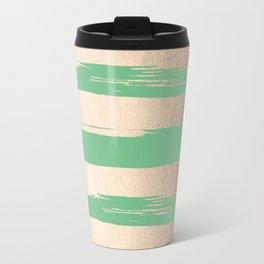 Painted Stripes Gold Tropical Green Travel Mug