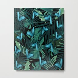 Tropical Butterfly Jungle Night Leaves Pattern #5 #tropical #decor #art #society6 Metal Print