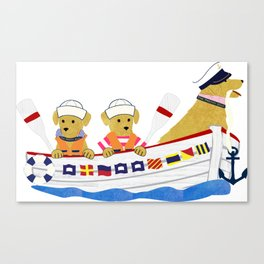 Nautical Dogs Preppy Golden Retrievers Canvas Print