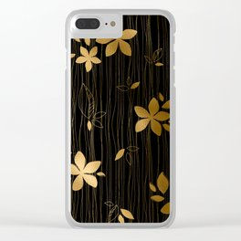 Luxurious Black and Gold Flower Art Deco Pattern Clear iPhone Case