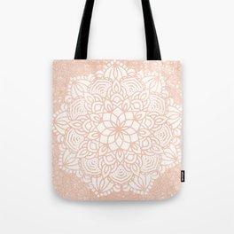 Seashell Mandala Coral Pink and White by Nature Magick Tote Bag