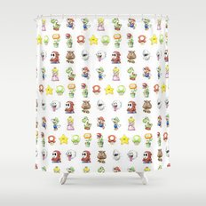 Mario Characters Watercolor Geek Gaming Videogame Shower Curtain