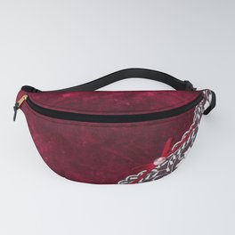 Elegant white Vintage Lace with pearl and ribbon on dark red grunge backround Fanny Pack