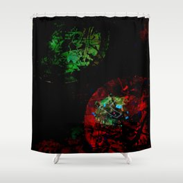 Red Green Entanglement Shower Curtain