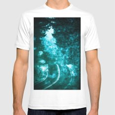 Forest Road Wanderlust - Magical Adventure Road Trip Teal Blue Green Fog White MEDIUM Mens Fitted Tee