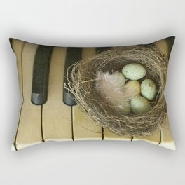 Chocolate Eggs in a Birds Nest on a Vintage Piano. Rectangular Pillow