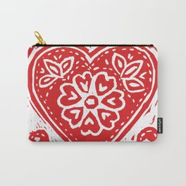 Cariad Darling sweetheart lino print red Carry-All Pouch
